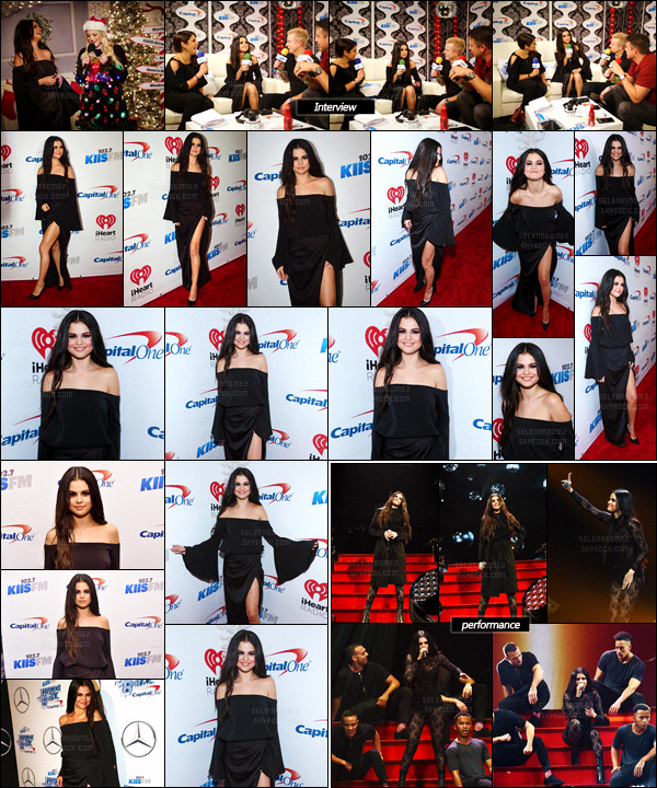 04/12/15 - Miss Selena a été vue une fois de plus au « Jingle Ball », dans la ville de Los Angeles (CA). Cheveux dégagés, lentilles aux yeux et tenue noire ultra sexy, le look de la chanteuse a comme d'habitude fait beaucoup parler ! Tu aimes ?![/alig fen]