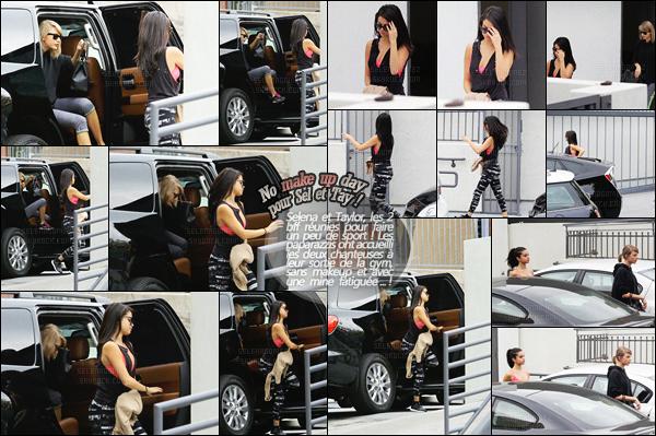 """'""""""""18.01.16'"""" ─ Selena a été vue sortant du « Body by Simone LA » accompagnée par sa BFF Taylor Swift. Retrouvailles entre les deux bonnes copines, qui ont décidé de se rendre à ce club de remise en forme, se situant près de Los Angeles ... Votre avis ?[/alig fen]"""