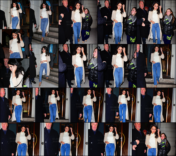 """'""""""""21.01.16'"""" ─ Selena a été vue quittant le « Nobu », un restaurant se trouvant dans la ville de New-York ! [/s#00000ize]C'est dans une tenue très classe que la starlette a été photographiée par les pap's, à la sortie de ce resto. J'adore son jean taille haute, et toi ? Top ?[/alig fen]"""
