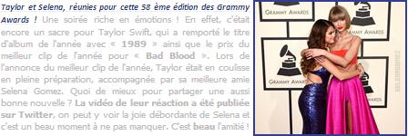 15.02.16 ─  Selena s'est rendue à la cérémonie des « Grammy Awards » qui se déroulait près de Los Angeles. [/s#00000ize]La chanteuse a fièrement posé aux côtés de sa meilleure amie Taylor Swift, qui a remporté deux prix prestigieux ce soir-là ! Avis sur la tenue portée ?[/alig fen]