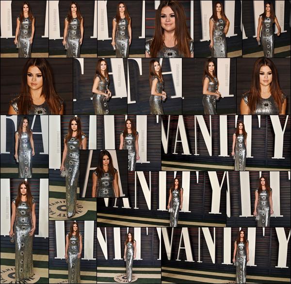 28.02.16 ─  Selena Gomez s'est rendue à l'annuel « Vanity Fair Oscar Party » qui se déroulait à Beverly Hills. [/s#00000ize]Pour cette occasion Sel' a fait dans l'original en portant une robe argentée assez moulante. Je ne valide pas vraiment, elle aurait pu faire bien mieux ![/alig fen]