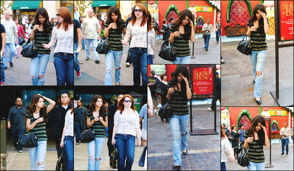 13.12.10 ─ Miss Selena  a été vue faisant une petite séance shopping avec Jennifer Stone, à Los Angeles (CA).[/s#00000ize]Selena ne semble pas enchantée d'avoir plusieurs paparazzis qui la suivent ... La belle porte un jean destroy, une paire de ballerines et un sac D&G ! [/alig fen]