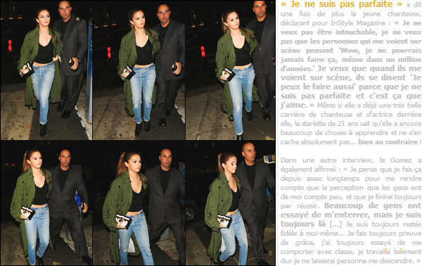 02.05.16 - Un peu plus tard, Selena a été vue par des pap's, alors qu'elle se baladait dans les rues de  New-York. [/s#00000ize]Une tenue décontractée mais qui reste assez classe. Elle a opté pour un simple jean assorti à un haut noir basique, une longue veste style millitaire ![/alig fen]
