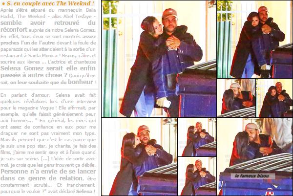 10.01.17 ─ Miss Gomez quittant le restaurant italien Giorgio Baldi qui est situé à Santa Monica, avec The Weeknd. [/s#00000ize]Ces différents clichés ont déclenché une véritable polémique sur tous les réseaux sociaux... Et toi que penses-tu de ce couple pour le moins inattendu ? [/alig fen]