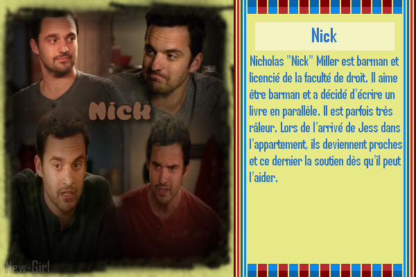 Jake Johnson : Nick  *Biographie 1 & 2* *** Filmographie 1 & 2 *** *Récompenses 1 & 2* *** *les 2 Créa* *** *les déco* *** *5 Avatard Gif*
