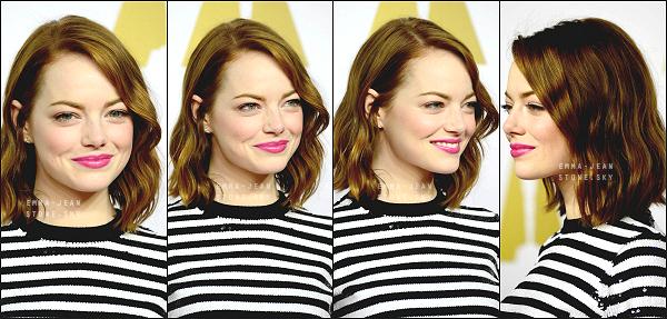 /  /02.02.2015: Emma s'est rendue à un déjeuner organisé en l'honneur des nominés de la 87ème cérémonies des Oscars. Coté tenue, elle nous surprend à chaque fois, après hésitation j'aime bien, Em' est classe et vraiment superbe. Un Top!