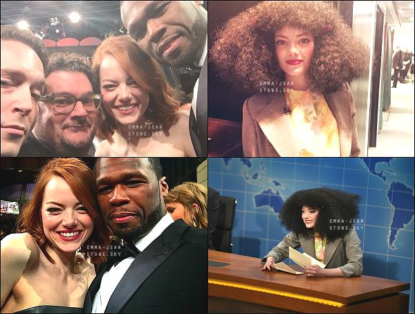 15.02.2015: Emma s'est rendue au 40 è Anniversaire du Saturday Night Live, à NY. Divine dans cette tenue de Christian Dior.  Tous les invités ont imité des personnalités, Emma Stone a choisi Roseanne Roseannadanna, elle est juste excellente !