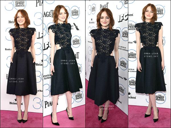 21.02.2015: La belle Emma Stone était présente à la cérémonie des Film Independent Spirit Awards, à Santa Monica.   Elle porte une superbe robe à dentelle, de Monique Lhuillier. - Make up et coiffure parfaits, Em' est juste magnifique.