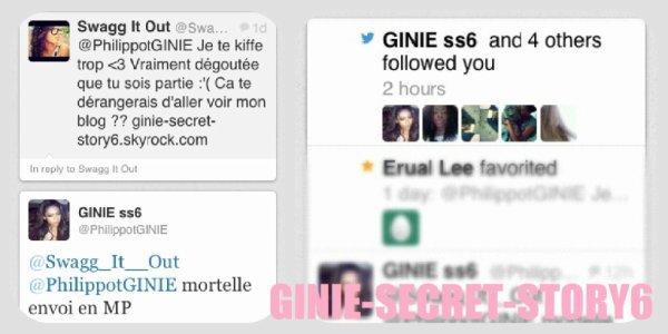 Ginie m'a follow sur Twitter!!!