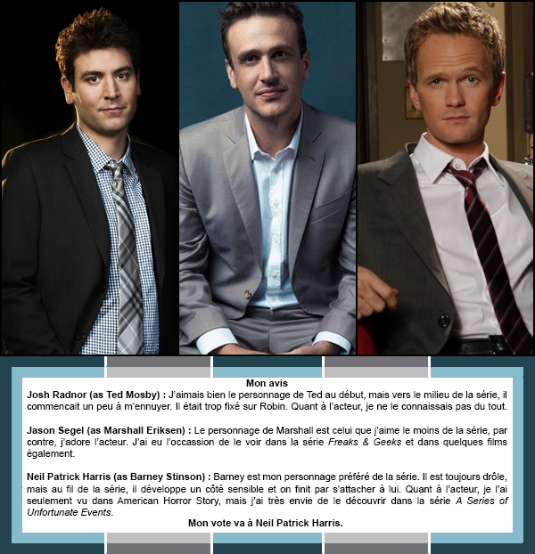 Duel #6 : Masculin  Les personnages mascuslins dans How I Met Your Mother