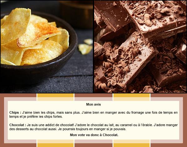 Duel #9 : Nourriture  Chips VS Chocolat
