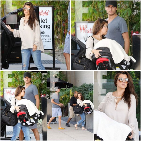 Jeudi 9 août: Pour la première depuis son accouchement Kourtney a emmené sa fille Penelopefaire du shopping, accompa