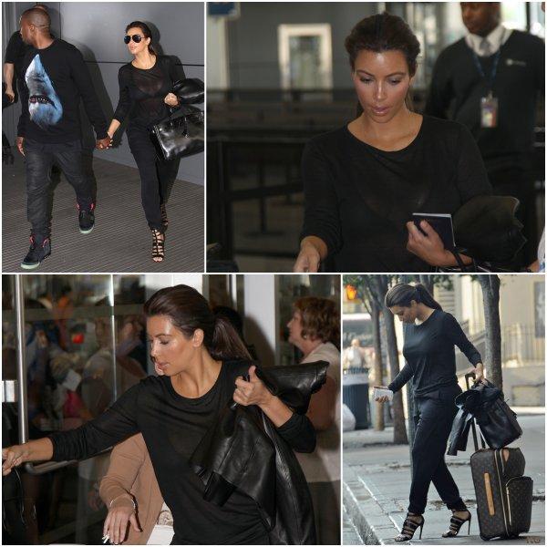 Jeudi 9 août: Kim et Kanye ont été aperçus à l'aéroport de JFK à New York