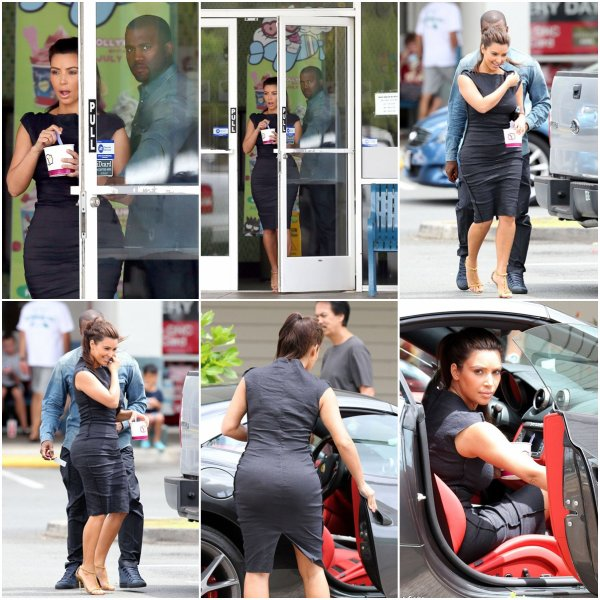 Lundi 13 août: Kim et Kanye toujours en vacances à Hawaï sont allée manger une glace