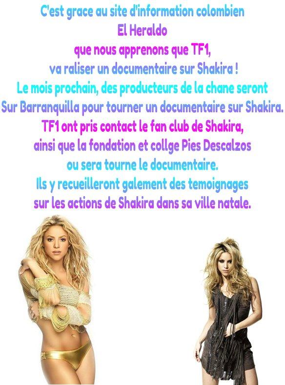 Documentaire sur SHAKIRA pour TF1 !