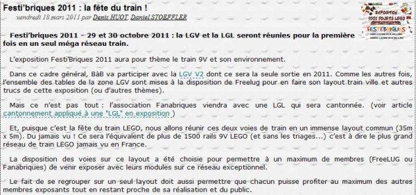 Festi'Briques 2011: organisation de la zone train : 200m2 de train Lego  !!!