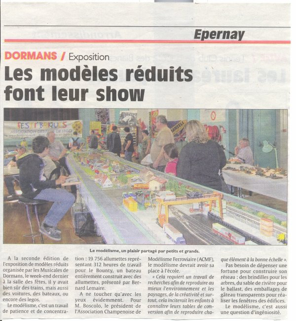 "Article dans le journal local ""l'union"" sur l'exposition de Dormans !"