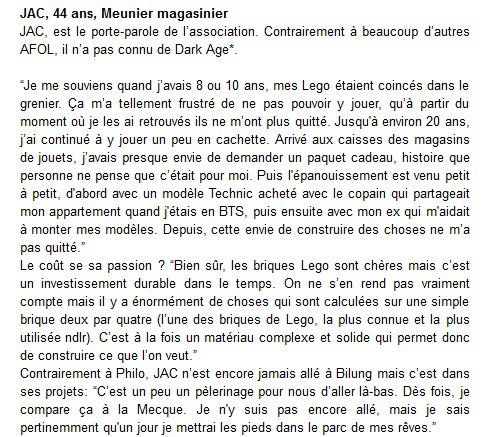 Paroles Adultes Fans de Lego - Brain magazine