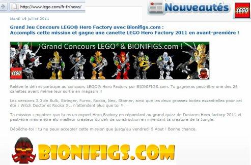 Concours LEGO® & BIONIFIGS.com de l'été : Gagnez des 3.0 !