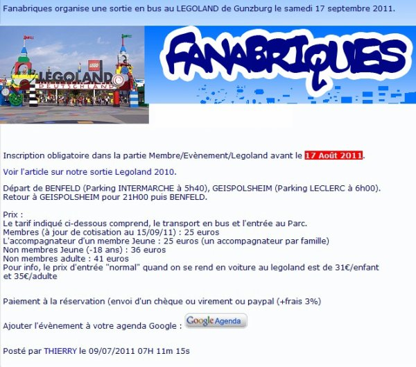 Nos amis des Fanabriques partiront à l'aventure Legoland en septembre