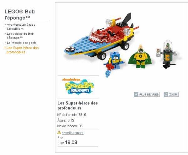 les supers héros commencent à être sur Lego shop: super Bob l'Eponge :)