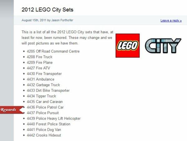 Les annonces pour 2012 commencent avec le site brickshow : la gamme city 2012 !