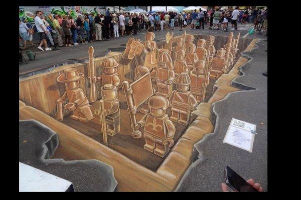 Sarasota Chalk Festival 3D LEGO Army