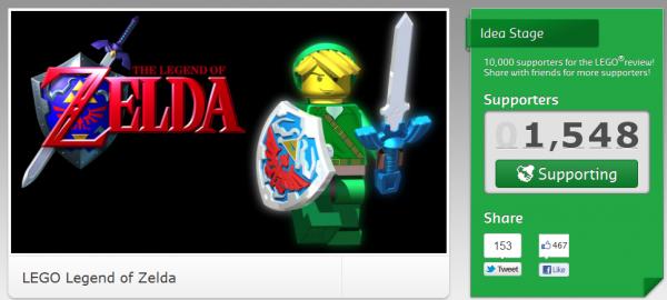 Soutenez des projets Lego: ZELDA 10000 signatures et Lego regardera la faisabilité !