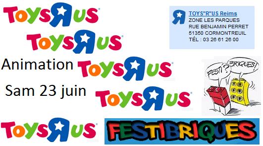 """Première animation Toys """"R"""" Us par les Festi'briques le 23 juin au magasin de Reims (51)"""