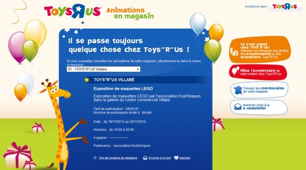 """Toys """"R"""" Us partenaire officiel de Festi'briques: expo Villabé (91) 19-22 novembre 2012"""