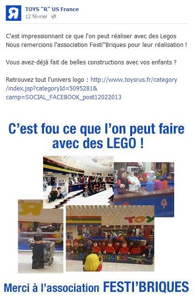 Toy's R Us France: Petit mot sur leur Facebook pour les Festi'briques