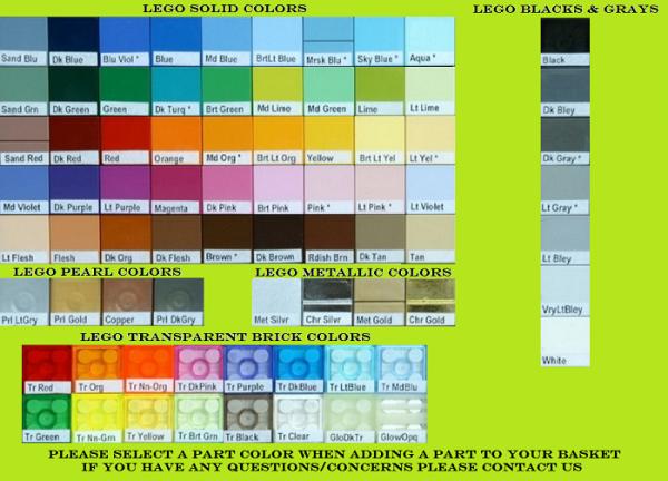 Les différentes couleurs Lego