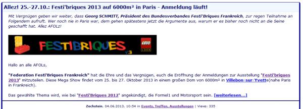 Festi'Briques 2013 à Paris: soutien et présence du prestigieux groupe allemand: 1000steine