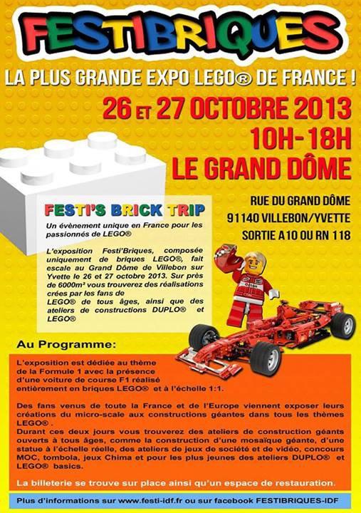 J-17 venez au Grand prix Lego de F1 du 26-27 octobre 2013 à Villebon sur Yvette