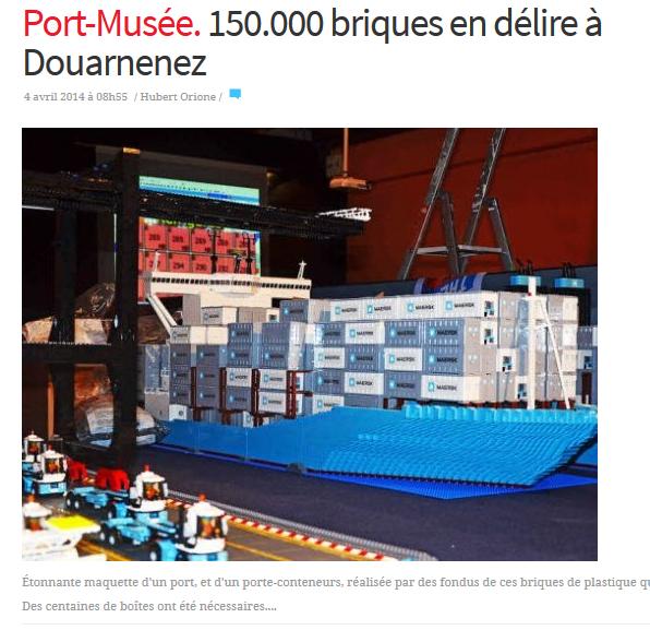 Festi'briques a sa mascotte Lego: Le port Maersk Line 2m x 4m avec le Triple E (Longueur: 432 tenons - Largeur 58: tenons - hauteur:  82 tenons/73 briques )