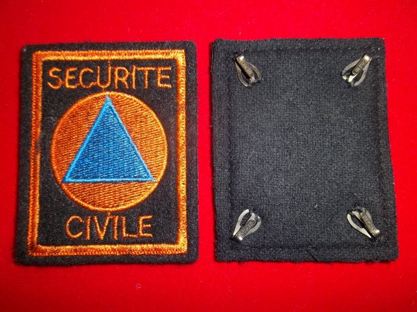 ANCIEN ECUSSON SECURITE CIVILE AVEC AGRAFES
