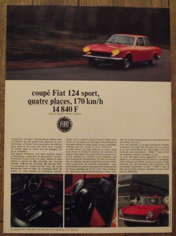 """1967,FIAT CONTINUE SON RAJEUNISSEMENT AVEC LE LANCEMENT DU COUPé """"DINO"""" POUR LE TRES HAUT DE GAMME AINSI QUE DU COUPé FIAT 124 SPORT QUI VIENDRA S INTERCALER ENTRE LE MODELE ECONOMIQUE 850 ET LE MODELE 2300,COSSU ET A 6 CYLINDRES."""