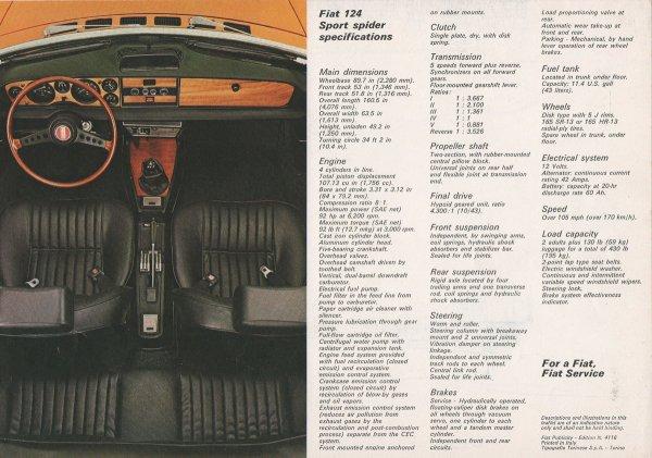 1974,LE SPIDER FIAT 124 TIRE SA REVERENCE SUR LE MARCHé EUROPEEN,MAIS LA FABRICATION CONTINUE POUR LE MARCHé DES ETATS-UNIS !!