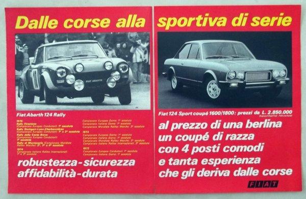 PUB ITALIENNE POUR LA FIAT 124 COUPé SPORT.