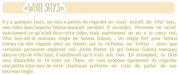 """-Interview- Le 8 mars , Selena été l'invitée sur le plateau de Ryan Seacrest à l'occasion de son nouveau -Interview''-single """" Who Says """" . Selena était trèèèès jolie , j'adore ses cheveux bouclés , un TOP -Interview''-maquillage & coiffure !  Votre avis ?"""