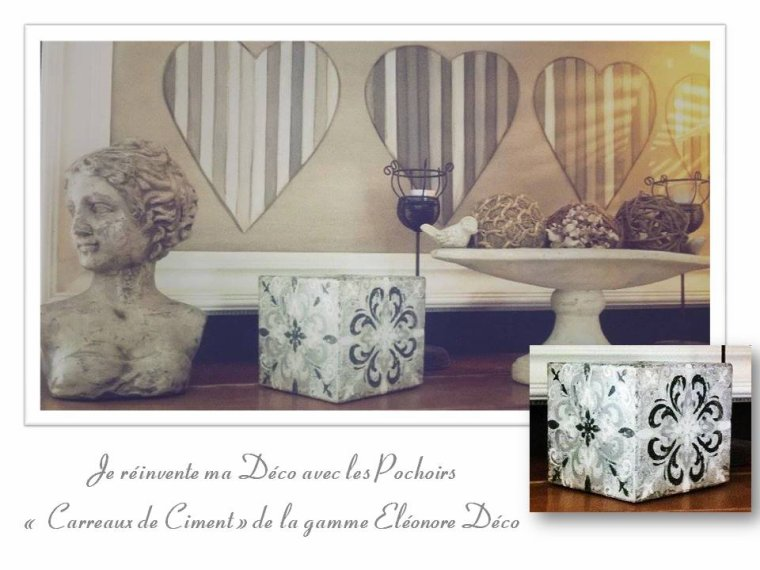 pochoirs carreaux de ciment de la gamme el onore d co blog de christelmoreau. Black Bedroom Furniture Sets. Home Design Ideas