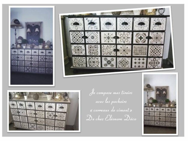 Meuble tiroirs relook avec les pochoirs carreaux for Meuble avec plusieurs tiroirs
