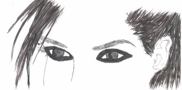 """Fan art """"Les yeux de Bill"""" refait à l'encre de chine."""