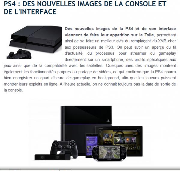 l'interface de la PS4