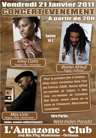 En concert à L'AMAZONE à ORLEANS Le Vendredi 21 Janvier 2011