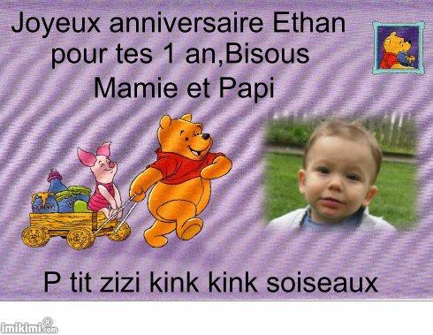 cadeau d'anniversaire pour mon petit fils Ethan pour ses 1 an