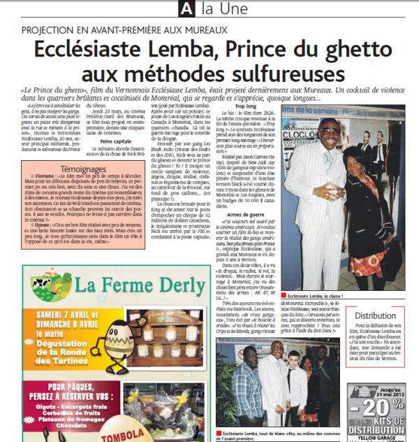 Preview Prince of the Ghetto on newspaper french LE DEMOCRATE/Article sur l'avant première de notre film LE PRINCE DU GHETTO dans le journal francais Le Démocrate