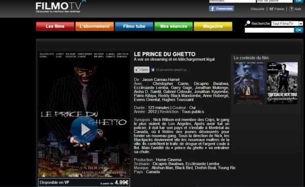 Mon film Le Prince du Ghetto enfin disponible en Version VOD en téléchargement Légal sur filmotv.fr pour les gens de FRANCE (uniquement) !  Voici le lien : http://www.filmotv.fr/film/le-prince-du-ghetto/4571.html  Bon film à tous et à toutes!