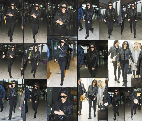 - - 15.03.2015- ─ Kylie Jenner a été repérée alors qu'elle était à l'aéroport « Heathrow » situé dans la ville de Londres !    Jenner prenait un vol en direction des Etats Unis. La belle était vêtue d'une tenue simple et complément noir, son perfecto est très beau, je met un top. -