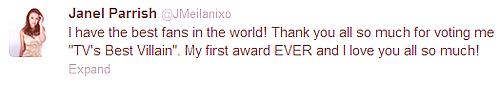 . 22 JUILLET 2012 : Janel était au Teen Choice Award .
